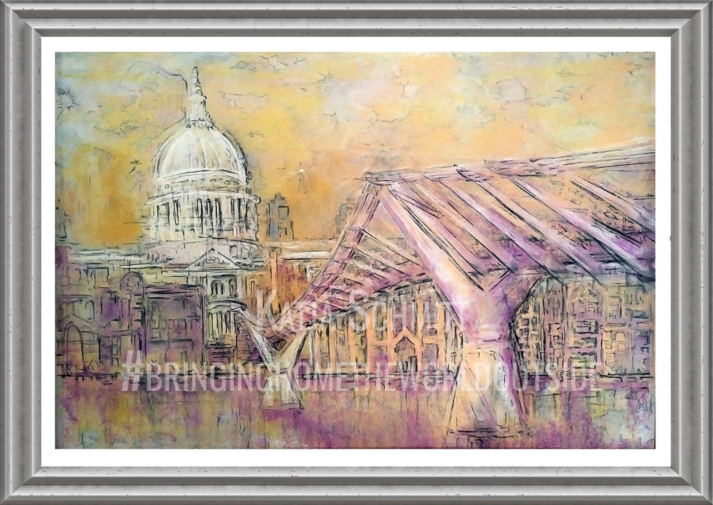 Katja_Schmitt_St Pauls and the Wobbly Bridge_Pastel_Painting