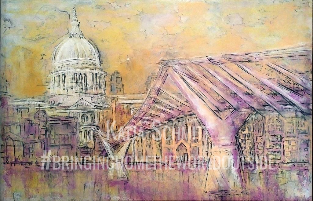 Katja_Schmitt_St Pauls Wobbly Bridge_Pastel Painting