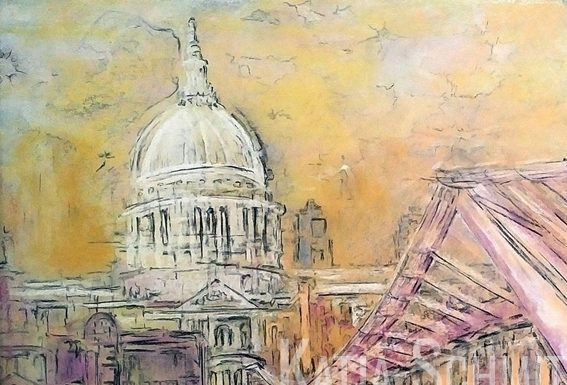 Katja_Schmitt_St Pauls Wobbly Bridge_Pastel Painting_Detail