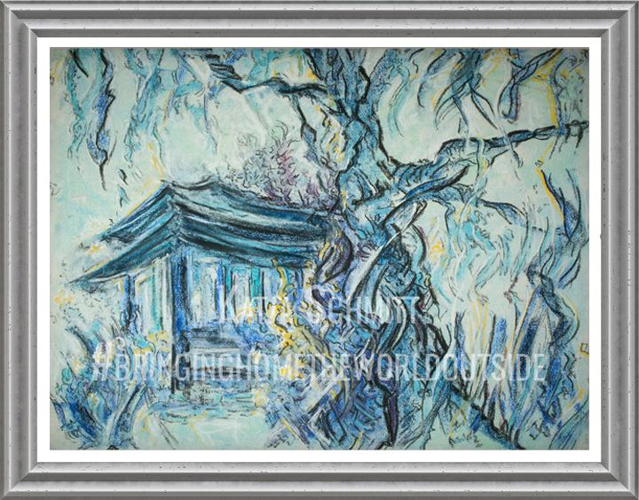Katja_Schmitt_Japanese_Garden_Blue_Pastel_Painting