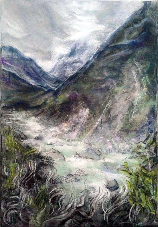 Katja Schmitt New Zealand Aoraki Mt Cook Hooker Valley 1 Pastel Painting