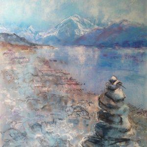 Katja Schmitt New Zealand Aoraki Mt Cook Lake Pukaki 1 Pastel Painting
