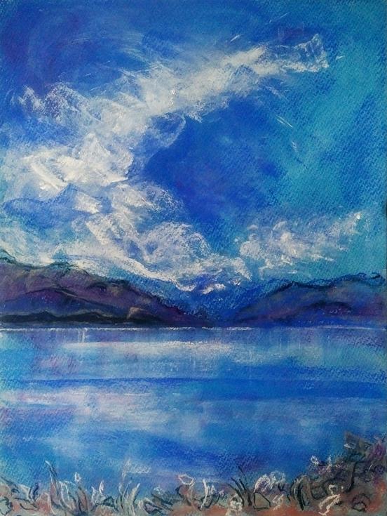 Katja Schmitt New Zealand Aoraki Mt Cook Lake Pukaki 2 Pastel Painting