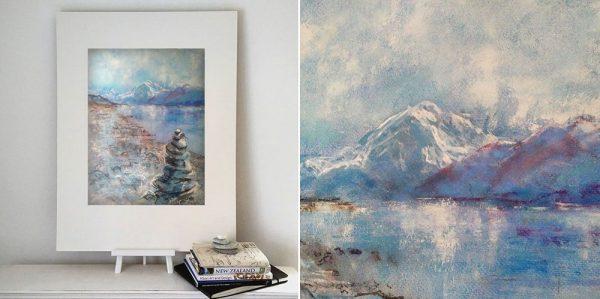 Katja Schmitt New Zealand Aoraki Mt Cook Lake Pukaki 1 Pastel Painting 4