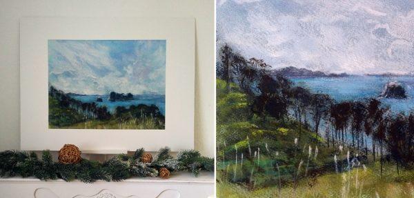 Katja Schmitt New Zealand Hahei Cathedral Cove Pastel Painting 2