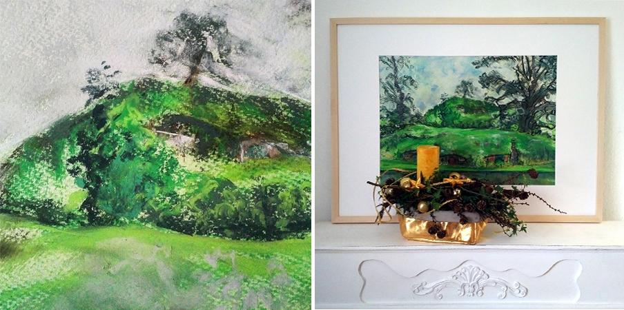 Katja Schmitt New Zealand Hobbiton Matamata Pastel Painting