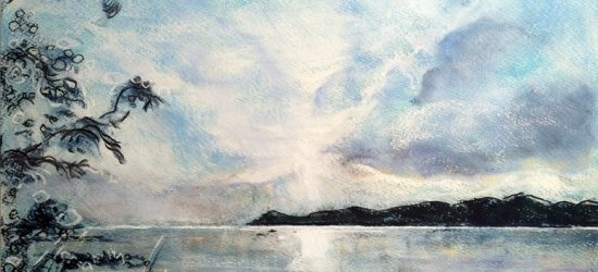 Katja Schmitt New Zealand Lake Taupo Pastel Painting