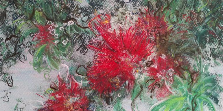 Katja Schmitt New Zealand Pohutukawa Christmas Tree Pastel Painting