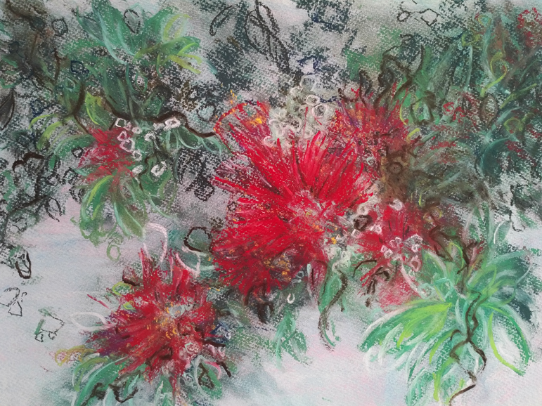 Katja Schmitt New Zealand Pohutukawa Christmas Tree Pastel Painting