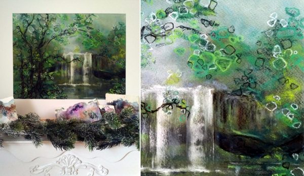 Katja Schmitt New Zealand Rainbow Falls Pastel Painting