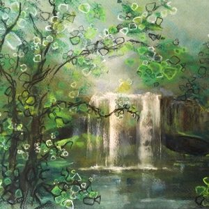 Katja Schmitt New Zealand Rainbow Falls Pastel Painting
