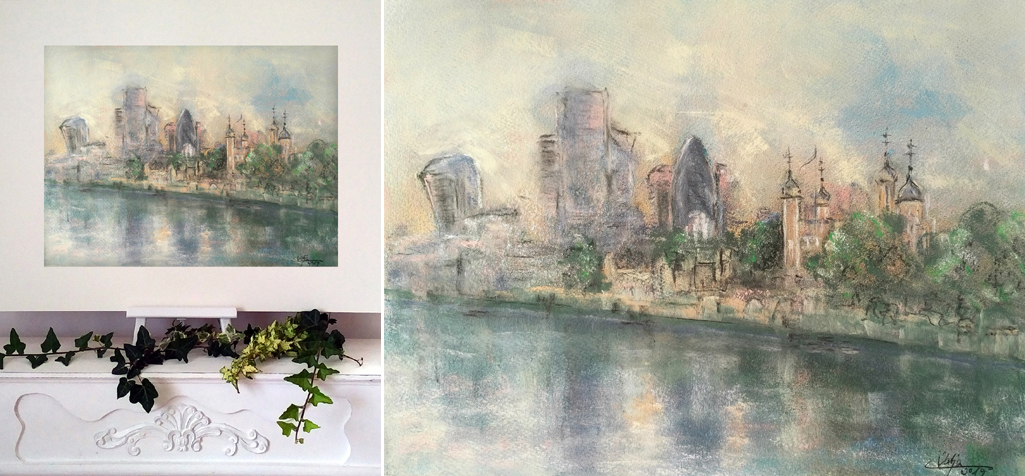 Katja Schmitt London Tower and City Pastel Painting