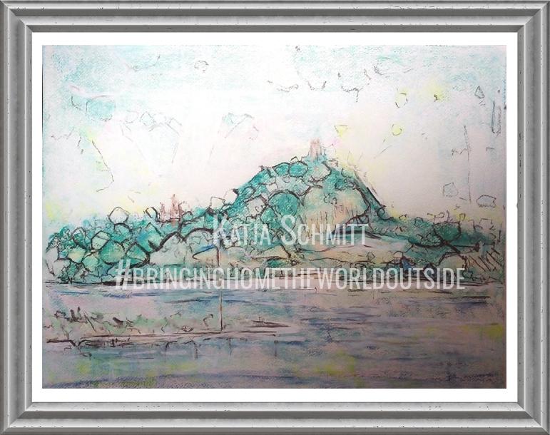 Katja Schmitt Drachenfels Rhein Rhine Pastel Painting