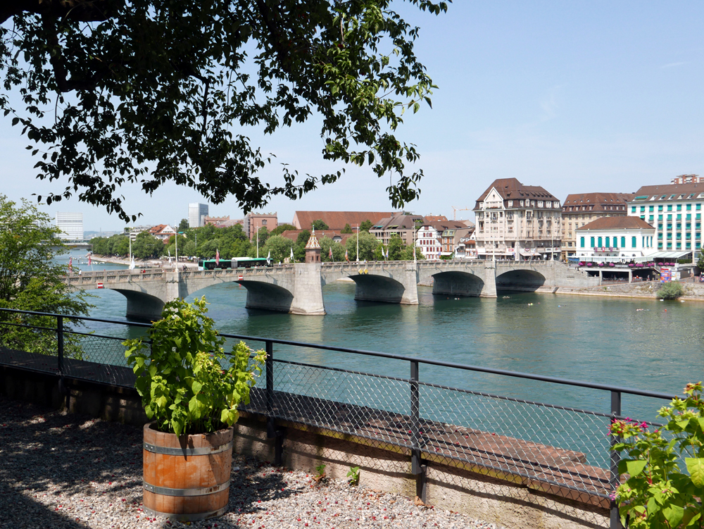 Katja Schmitt Basel Rhine Rhein Mittlere Bruecke Cityscape Garden Garten
