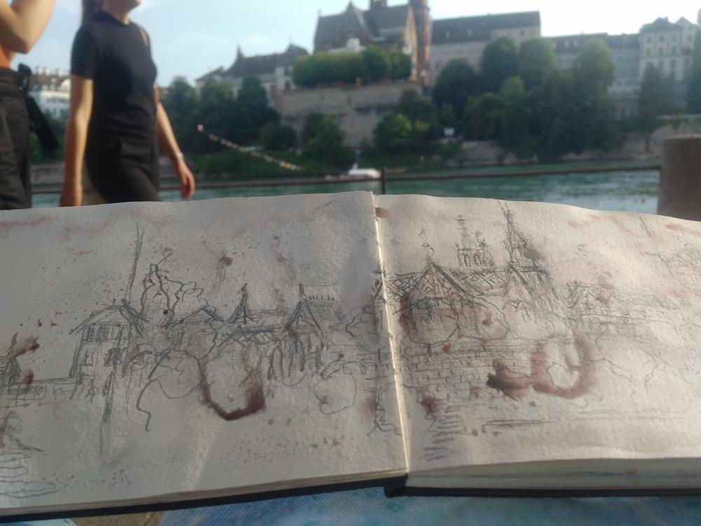 Katja Schmitt Basel Sketchbook Skizzenbuch Cityscape Promenade
