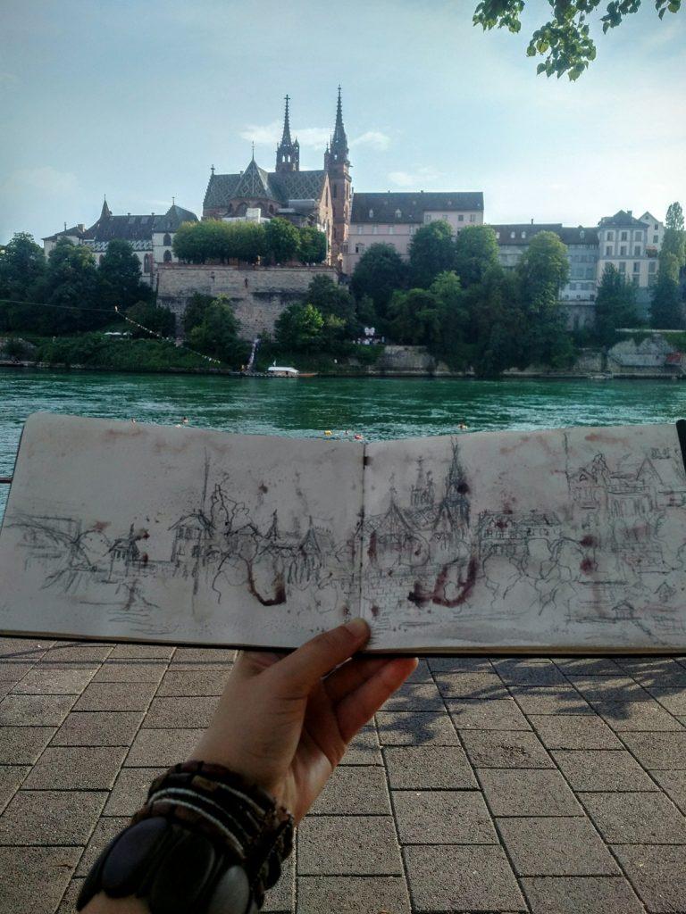Katja Schmitt Basel Sketchbook Skizzenbuch Cityscape Urban
