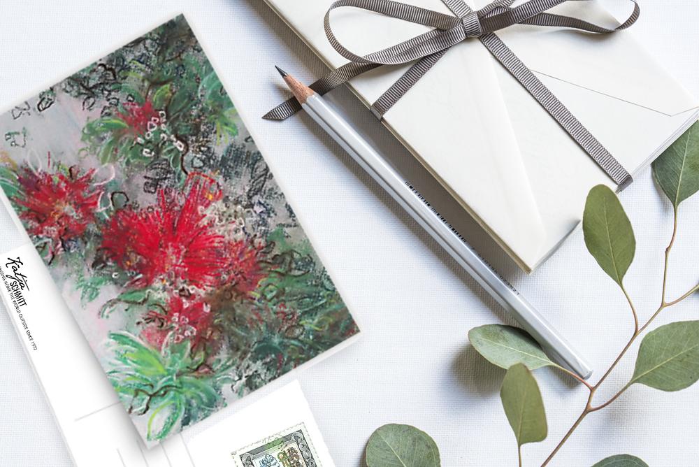 Katja Schmitt Pastel Weihnachtskarte Christmas Pohutukawa Flatlay